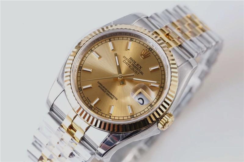 Replica Rolex Datejust Ladies Swiss Watches 178273-0001 Golden Dial 31mm(High End)