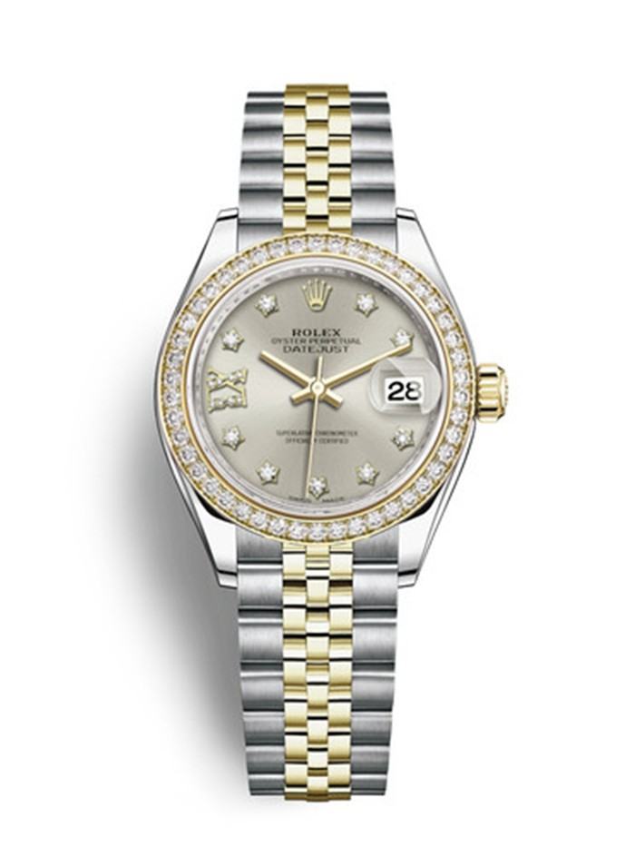 Replica Rolex Datejust Ladies Swiss Watches 279383RBR-0003 Silver Dial 28mm(High End)