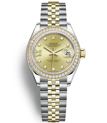 Replica Rolex Datejust Ladies Swiss Watches 279383RBR-0021 Gold Dial 28mm(High End)