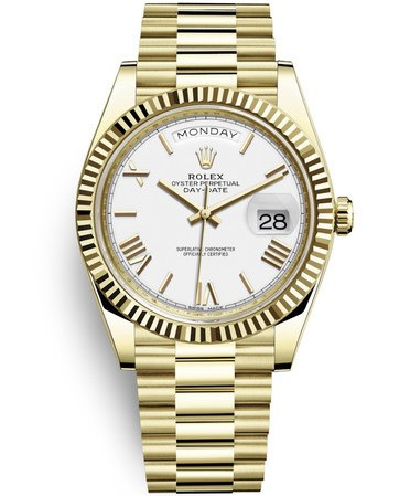 Replica Rolex Day-Date II Swiss Watches 228238-0042 Full Gold Silver White Dial 40mm(High End)