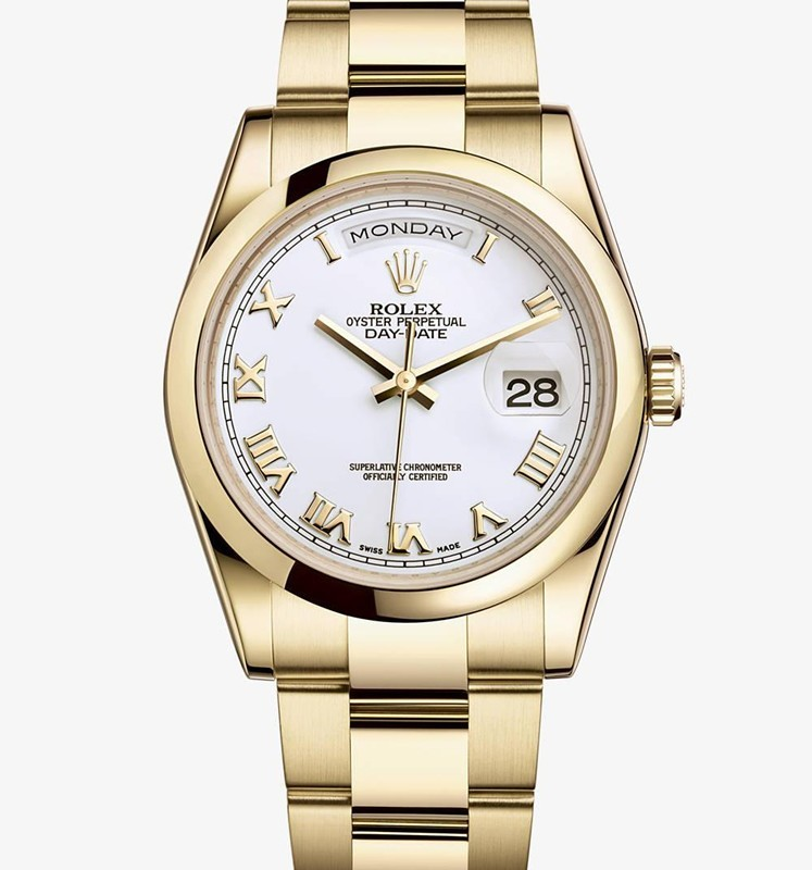 Rolex Day-Date Swiss Automatic Watch Full Gold White Dial