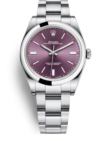 Replica Rolex Oyster Perpetual Swiss Watches 114300-0002 Red Grape Dial 39mm(High End)