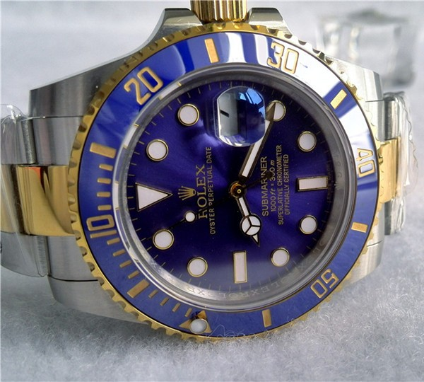 Replica Rolex Submariner Automatic Two-Tone Watch Blue Dial 40mm