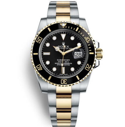 Replica Rolex Submariner Automatic Two-Tone Watch Black Dial 40mm