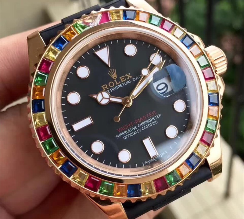 Replica Rolex Yacht-Master Swiss Automatic 116695SATS Rainbow Bezel 40mm (High End)
