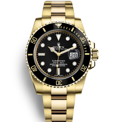 Replica Rolex Submariner 18K Gold Case Black Dial SWRX5611