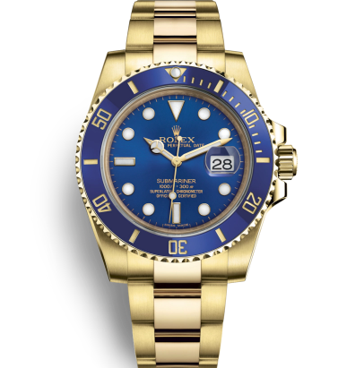 Rolex Submariner Replica Watches Full Gold Blue Dial