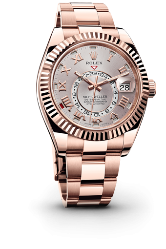 Swiss Rolex Sky-Dweller 326935 Rose Gold Silver-gray dial Roman numerals Automatic Replica Watch