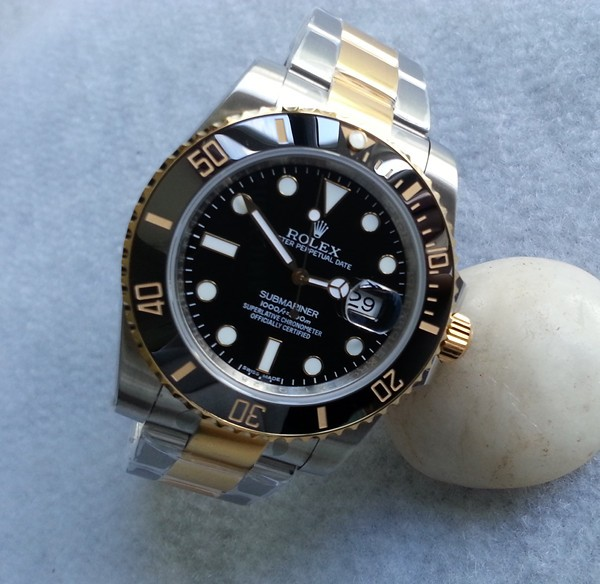 Swiss Replica Rolex Submariner Black Dial Two Tone (High End)