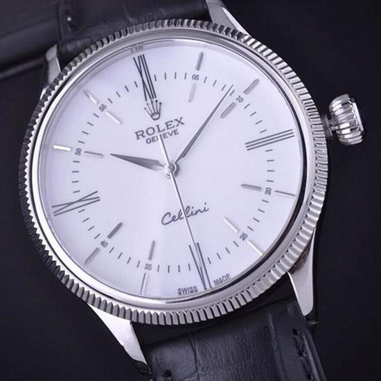 Swiss Rolex Cellini Time 50509 White dial 18K White gold Men Automatic Replica Watch
