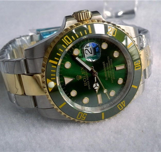 Swiss Rolex Submariner Green dial Two toned Strap Men Automatic Replica Watch