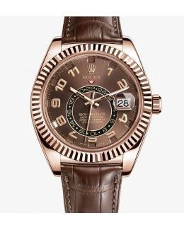 Swiss Rolex Sky-Dweller 326135 Rose Gold Brown dial Men Automatic Replica Watch