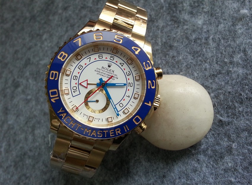 Rolex Yacht-Master II Replica Automatic Watch Full Gold White Dial (High End)