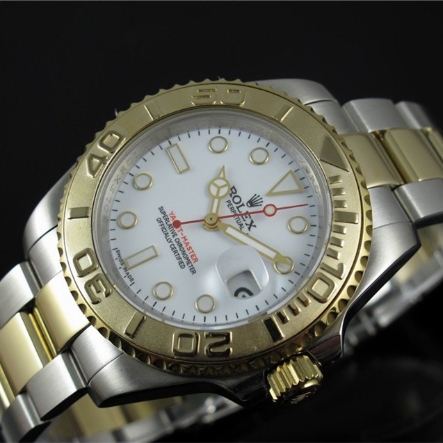 Rolex Yacht-Master Automatic Replica Watches Two-Tone White Dial 40mm